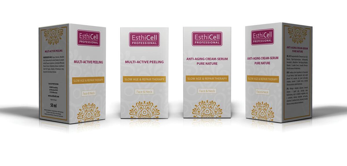 Projekt oraz skład DTP opakowań i etykiet - EsthiCell
