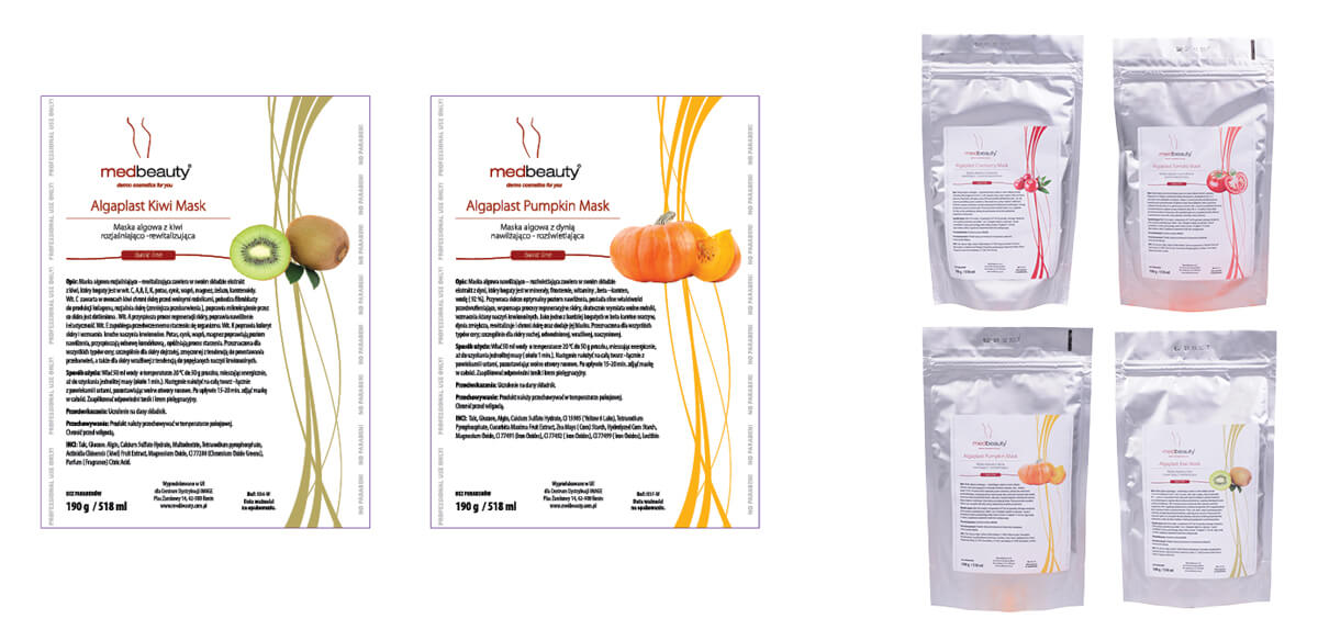 Projekt etykiet na maseczki kosmetyczne - Medbeauty