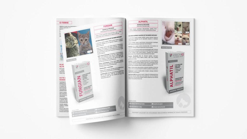 Projekt katalogu produktowego w formacie A4 dla firmy Vibioniq.